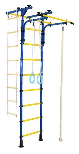 ДСК Юный Атлет Пол-потолок-Т синий, Цвет стоек: Синий, Цвет у перекладин: Желтый, фото