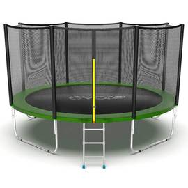 EVO JUMP External 12ft (Green) Батут с внешней сеткой и лестницей, диаметр 12ft (зеленый), Цвет батута: Зеленый, фото