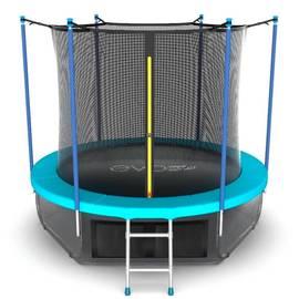 EVO JUMP Internal 8ft (Wave). Батут с внутренней сеткой и лестницей, диаметр 8ft (морская волна) + нижняя сеть, Цвет батута: Голубой, фото