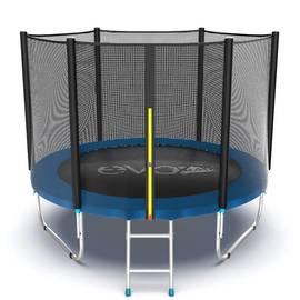 EVO JUMP External 8ft (Blue) Батут с внешней сеткой и лестницей, диаметр 8ft (синий), Цвет батута: Синий, фото