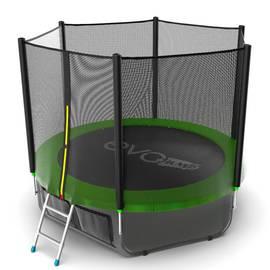 EVO JUMP External 8ft (Green) + Lower net. Батут с внешней сеткой и лестницей, диаметр 8ft (зеленый) + нижняя сеть, Цвет батута: Зеленый, фото