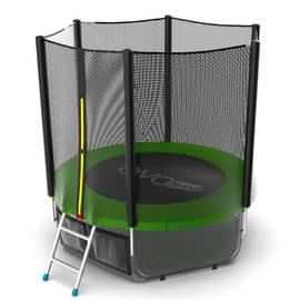 EVO JUMP External 6ft (Green) + Lower net. Батут с внешней сеткой и лестницей, диаметр 6ft (зеленый) + нижняя сеть, Цвет батута: Зеленый, фото