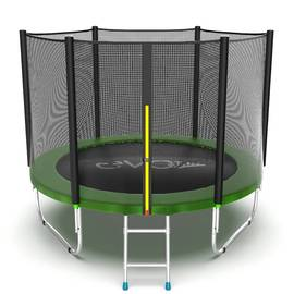 EVO JUMP External 8ft (Green) Батут с внешней сеткой и лестницей, диаметр 8ft (зеленый), Цвет батута: Зеленый, фото