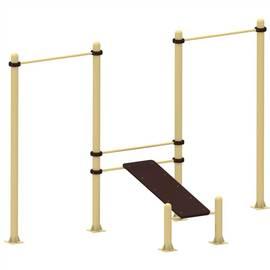 Уличный тренажер скамья для пресса с двумя турниками YSK33, Диаметр несущей трубы: 76 мм (частное использование), Заглушка для стоек: АБС-ПЛАСТИК, Материал скамьи: Мебельный щит толщиной 28 мм, фото