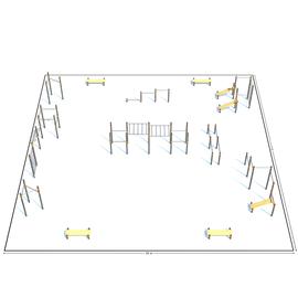 Спортивная площадка К-8, Диаметр несущей трубы: 76 мм (частное использование), Заглушка для стоек: АБС-ПЛАСТИК, фото