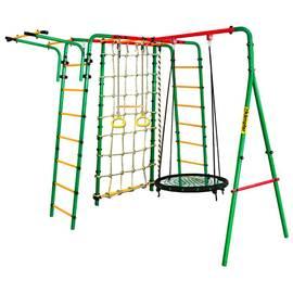 Спортивно-игровой комплекс Kampfer Kindisch (гнездо 100 см, черно-зеленое), Диаметр кольца: 100 см, Цвет качелей: Черно/зеленый, фото