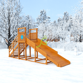 """Зимняя горка """"Снежинка"""", скат 4 м, Покрытие: Пропитка с антисептиком на водной основе Фортеколор, фото"""