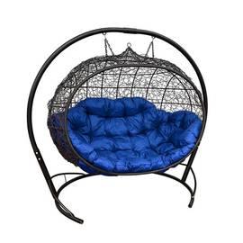 """Подвесное кресло кокон """"Улей"""" Ротанг с синей подушкой, Цвет: Синий, фото"""