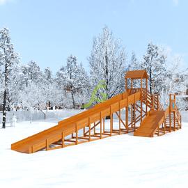 """Зимняя деревянная горка """"Snow Fox 12 м"""" с двумя скатами, фото"""