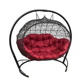 """Подвесное кресло кокон """"Улей"""" Ротанг с бордовой подушкой, Цвет: Бордовый, фото"""