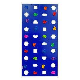 """Скалодром пристенный """"Формула здоровья"""" 1000*2000 стандарт ЭЛЬБРУС с отверстиями синий, Цвет стоек: Синий, фото"""