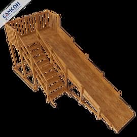 Зимняя деревянная горка Норильск (покрытие лак и грунт), Покрытие: Грунт, акриловый лак на водной основе, фото
