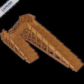 Зимняя деревянная горка Арктика (покрытие лак и грунт), Покрытие: Грунт, акриловый лак на водной основе, фото