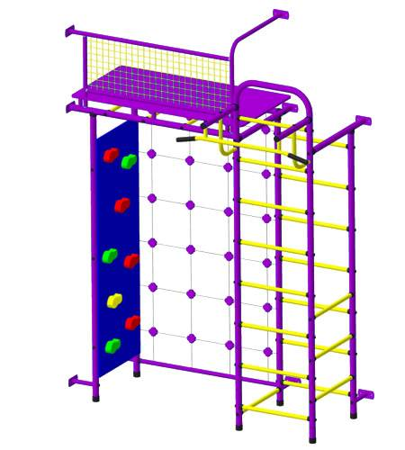 ДСК Пионер 10СМ со скалодромом пурпурно/жёлтый, Цвет стоек: Пурпурный, Тип перекладин: Металл + ПВХ, фото