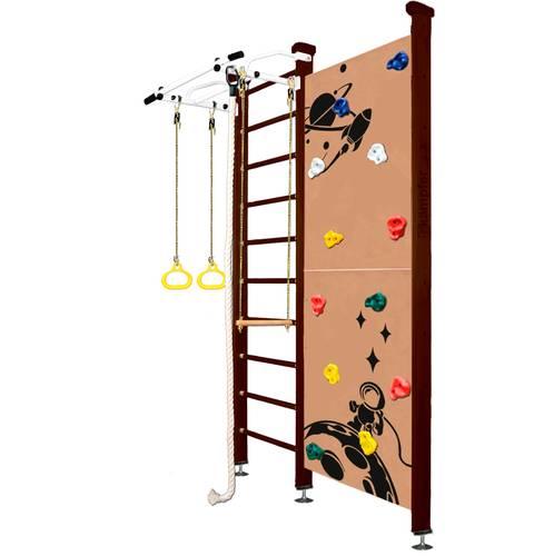Шведская стенка Kampfer Jungle Ceiling Boy №5 Шоколадный, Цвет стоек: №5 Шоколадный, Высота стенки: до 267 см, Цвет навесного к ДСК: Белый, фото