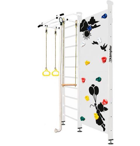 Шведская стенка Kampfer Jungle Ceiling Girl №6 Жемчужный, Цвет стоек: №6 Жемчужный, Высота стенки: до 267 см, Цвет навесного к ДСК: Белый, фото