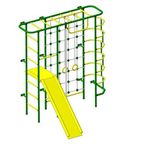 ДСК Пионер - С7СМ зелёно/жёлтый, Цвет стоек: Зеленый, Тип перекладин: Металл + ПВХ, фото