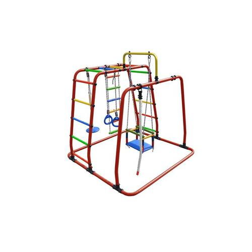 ДСК Формула здоровья Игрунок Т Плюс красный/радуга, Цвет стоек: Красный, Цвет у перекладин: Разноцветные, фото