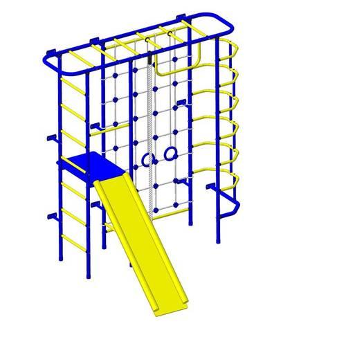 ДСК Пионер - С7СМ сине/желтый, Цвет стоек: Синий, Тип перекладин: Металл + ПВХ, фото