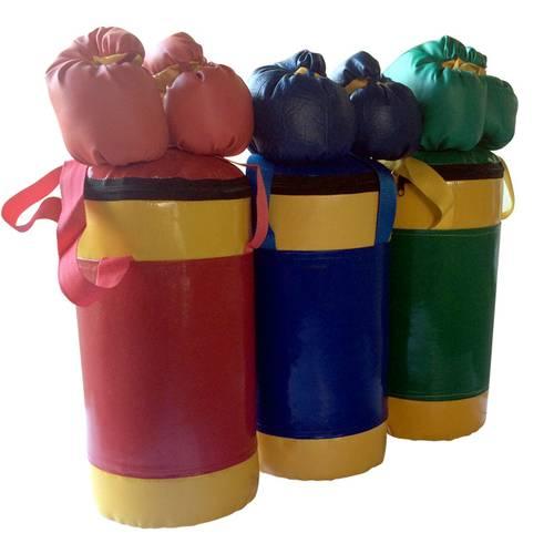 Детский боксерский набор №2 из груши 5 кг и перчаток сине/желтый, фото