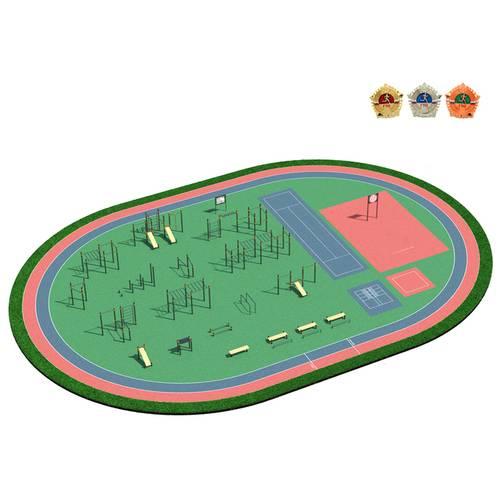 Спортивная площадка ГТО-5, Диаметр несущей трубы: 76 мм (частное использование), Заглушка для стоек: АБС-ПЛАСТИК, фото