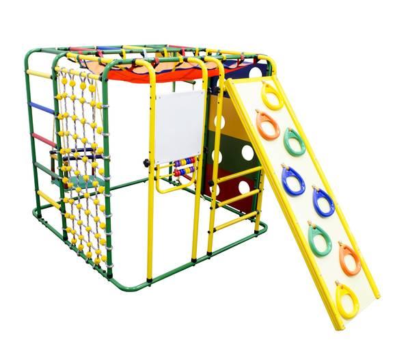 ДСК Формула здоровья Кубик У Плюс зелёный/радуга, Цвет стоек: Зеленый, Цвет у перекладин: Разноцветные, фото
