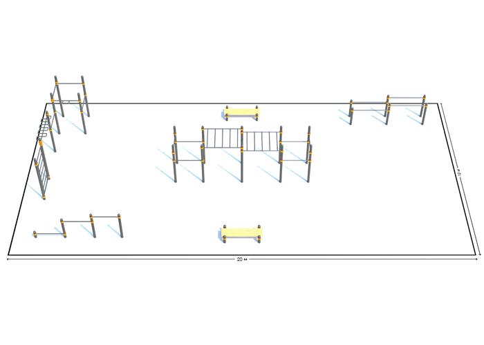 Спортивная площадка К-4, Диаметр несущей трубы: 76 мм (частное использование), Заглушка для стоек: АБС-ПЛАСТИК, фото