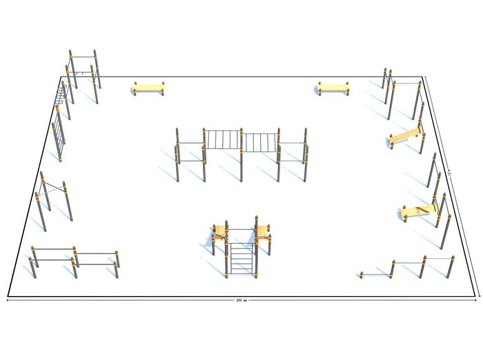 Спортивная площадка К-7, Диаметр несущей трубы: 76 мм (частное использование), Заглушка для стоек: АБС-ПЛАСТИК, фото