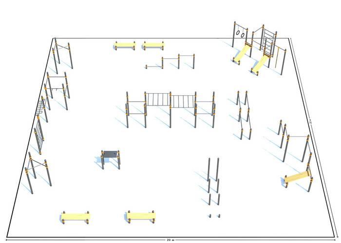 Спортивная площадка К-10, Диаметр несущей трубы: 76 мм (частное использование), Заглушка для стоек: АБС-ПЛАСТИК, фото