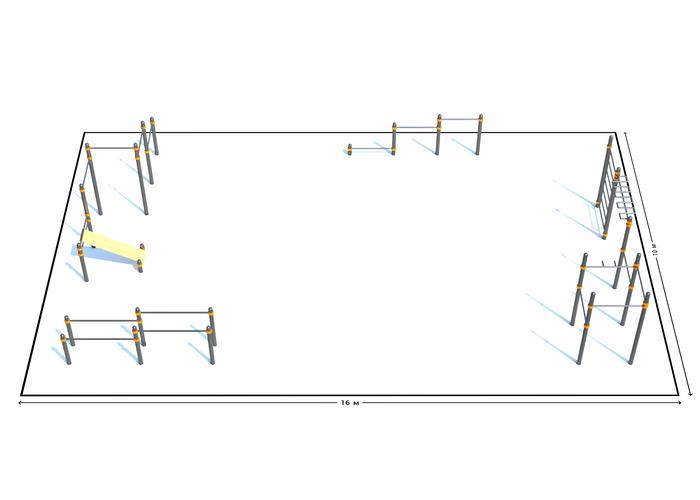 Спортивная площадка К-2, Диаметр несущей трубы: 76 мм (частное использование), Заглушка для стоек: АБС-ПЛАСТИК, фото