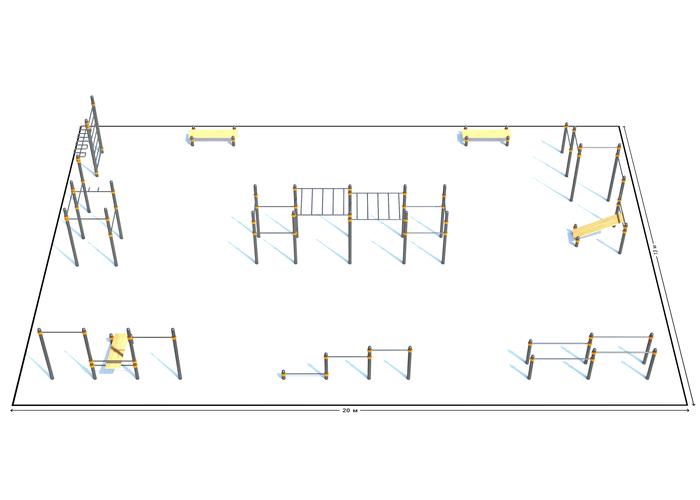 Спортивная площадка К-5, Диаметр несущей трубы: 76 мм (частное использование), Заглушка для стоек: АБС-ПЛАСТИК, фото