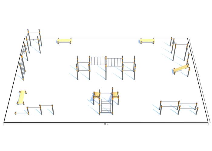 Спортивная площадка К-6, Диаметр несущей трубы: 76 мм (частное использование), Заглушка для стоек: АБС-ПЛАСТИК, фото