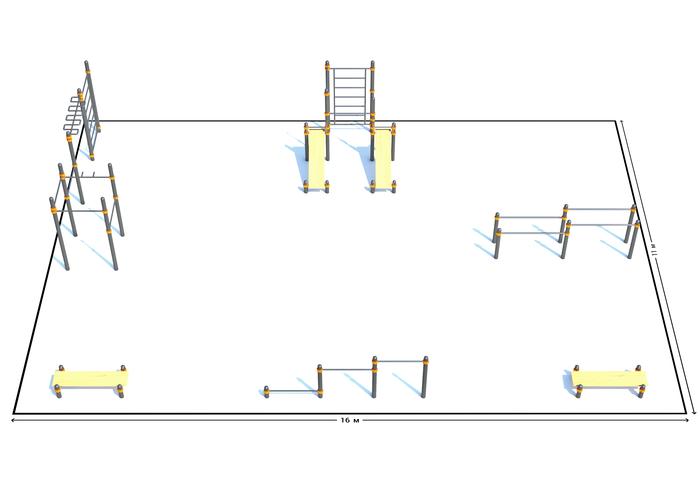 Спортивная площадка К-3, Диаметр несущей трубы: 76 мм (частное использование), Заглушка для стоек: АБС-ПЛАСТИК, фото