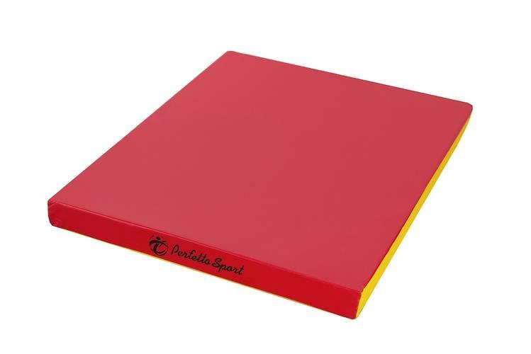 Мат гимнастический PERFETTO SPORT № 2 (100 х 100 х 10) см красно/жёлтый, Варианты цветов: Красно/жёлтый, фото