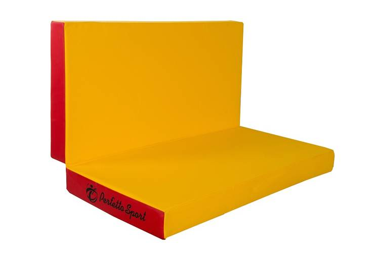 Мат гимнастический складной PERFETTO SPORT № 3 (100 х 100 х 10) см красно/жёлтый, Варианты цветов: Красно/жёлтый, фото