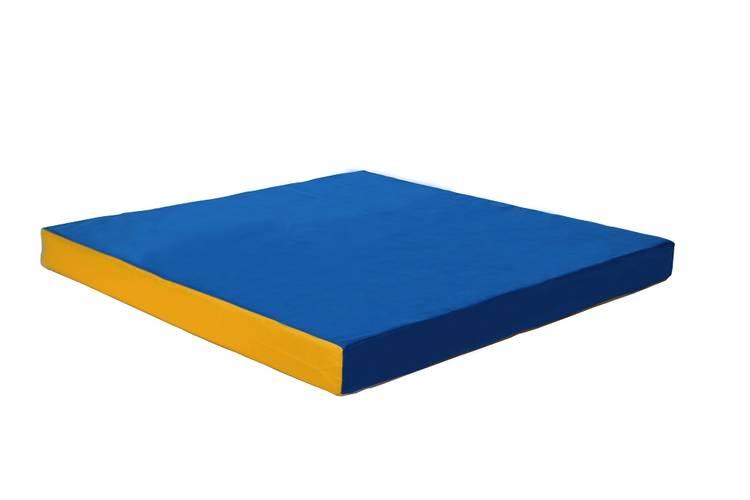 Мат гимнастический № 2 (100 х 100 х 10) см сине/жёлтый, Варианты цветов: Сине/жёлтый, фото