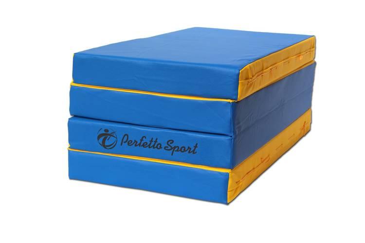 Мат гимнастический складной PERFETTO SPORT № 5 (100 х 200 х 10) см сине/жёлтый, Варианты цветов: Сине/жёлтый, фото