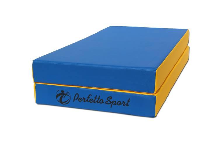 Мат гимнастический складной PERFETTO SPORT № 3 (100 х 100 х 10) см сине/жёлтый, Варианты цветов: Сине/жёлтый, фото