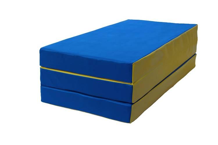 Мат гимнастический складной (100 х 150 х 10) см сине/жёлтый, фото 1