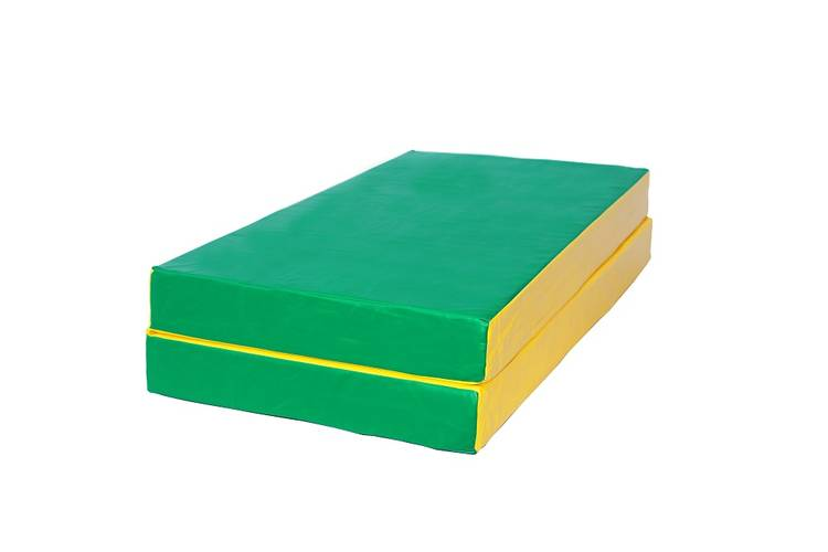 Мат гимнастический складной № 3 (100 х 100 х 10) см зелёно/жёлтый, Варианты цветов: Зелёно/жёлтый, фото
