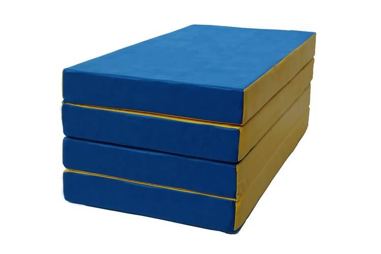 Мат гимнастический складной № 5 (100 х 200 х 10) см сине/жёлтый, Варианты цветов: Сине/жёлтый, фото