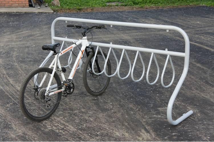 Велопарковка рекламная 08 на 8 мест (VP8) (Нержавеющая сталь), Материал: Сталь нержавеющая, фото